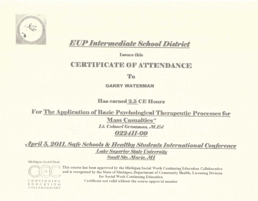 Certificates - Garry Waterman