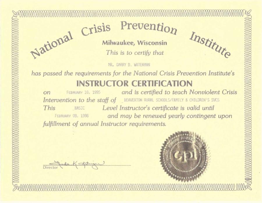 Certificates Garry Waterman